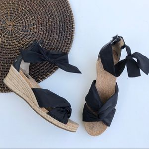 UGG Starla Wedge Espadrille Black Bow Tie 7.5